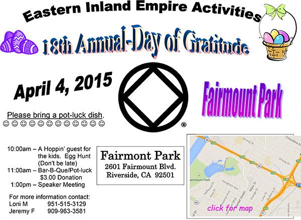 Fairmount Park Riverside California Map.Day Of Gratitude Southern California Region Narcotics Anonymous